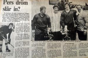 Per Brandser (då Karlsson) testade lyckan i Los Angeles Kings och Dagens Nyheter fick honom på bild med några lagkamrater 1977. Bland andra ärkebusen Dave Schultz.