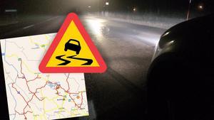 Fotomontage.Varning för halka i Dalarna – flera olyckor.