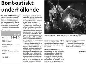 Så här såg ÖP:s allra första The Ark-recension ut, innan bandet slagit igenom och fortfarande spelade på Storsjöyrans lilla Gaffascen.