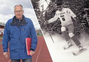 Roland Sjögren, sekreterare i Folkare Idrottsring till vänster och slalomvärldsmästaren Jonas Nilsson till höger.Foto: Nisse Schmidt
