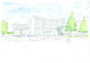 Med utstickande glaskropp mot ån. Marita Wallhagen var med och tog fram Arkitektgruppens förslag som vann tävlingen att rita Gävles nya Stadsbibliotek.