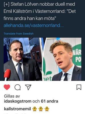 Emil Källströms instagram. Han ger Stefan Löfven tre gula kycklingar för statsministerns nej till att möta Källström i en duell inför valet 2018.Bild: Instagram