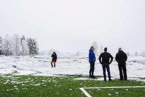 Fotbollstältet kort efter att det hade rasat den 29 december.