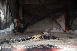 Platsen där det brann under onsdagsmorgonen.