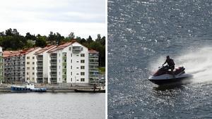 Skribenten påpekar att buskörandet med vattenskotrar även förekommer inne i hamnen. Bilder: Tommy Lindberg / Maja Suslin/TT