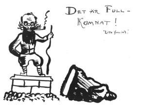 Tecknad bild som Karl-Erik Forsslund fick från beundrare i Falun.