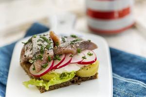 Matjessill och färskpotatis hör ihop. Här får de samsas på ett danskt smörrebröd.