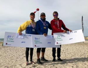 Medaljörerna i Blokhus Cup, fr v Magnus Falk, Sverige, Ehab Mahmoud, USA och Michael Burmester, Danmark. Foto Michael Alpfors.