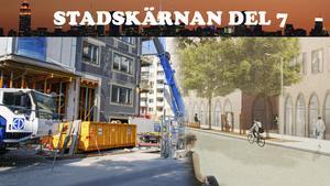 Till vänster bygget av 440 hyresrätter i kvarteret Sländan. Till höger arkitekternas vision om resultatet.