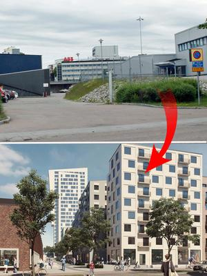 Nya hus mellan  Metallverksgatan och E 18.