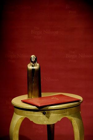 Birgit Nilsson-priset består av en prissumma på en miljon amerikanska dollar och en statyett av Ulla och Gustav Kraitz som föreställer operasångerskan själv. Arkivbild: Pontus Lundahl / TT