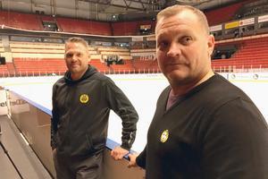 Brynäs nya tränare Mikael Holmqvist och Magnus Sundquist.