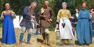 Att bära kläder med färg gav hög status på vikingatiden. Från vänster: Elisabet Ryd, Johan Johansson, Mårten Bydhén, Emely Sellerius och Cecilia Smedberg.