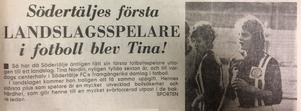 LT, 24 juli 1974, berättar nyheten om Christina Norins historiska uttagning i fotbollslandslaget.
