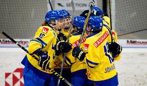 Sverige jublar. Foto: Nils Jakobsson / BILDBYRÅN.