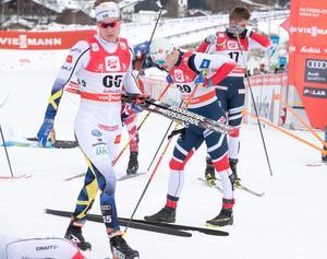 Axel Ekström tillhörde A-landslaget i vintras, men kunde på grund av sjukdomar inte prestera några resultat och fick bara göra en världscupstart, på för-VM i Seefeld där han tog en 60:e-plats i masstartslopp över 15 kilometer. Foto: Terje Pedersen/TT