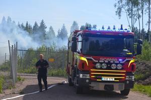 Räddningstjänsten släckte en brand i Krylbo på söndagseftermiddagen.  Foto: Alexander Koivisto