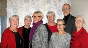 Från vänster ser vi Barbro Olsson, Doris Hamberg, Inger Nordwall, Helén Östmar Rosdahl, Carina Åström, Ann-Britt Grundström och Kurt Enberg.