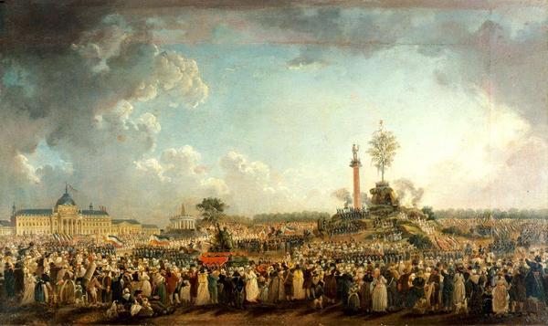 Det Högsta Väsendet firas i Paris 1794. Målning av Pierre-Antoine Demachy.