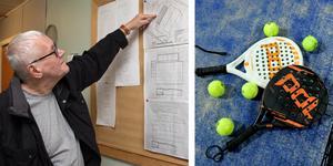 Conny Ahlberg, ordförande i Köpings Tennisklubb vid ritningarna till den planerade padelhallen.