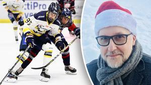 Hockeypuls SDHL-expert Erik Sandberg – en riktig tomte. Matchfoto: Josefine Loftenius (Bildbyrån).