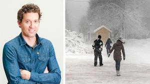 Per Holmgren och en bild från snöovädret under torsdagen förra veckan. Bild: Foreca och Eva-Lena Olsson.