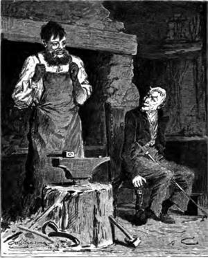 Djävulen söker upp en smed. Illustration av Otto Sinding från 1896.