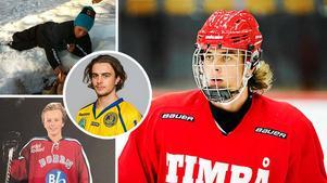 Jacob Olofsson har imponerat i Timråtröjan den här säsongen och fått en stor roll i laget. I dagarna spelar han, precis som lagkamraten Filip Hållander, en landslagsturnering med Småkronorna i USA. Bild: Montage.