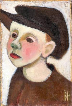 Pojke i skärmmössa. Olja av Berta Hansson, tidigt 1940-tal.
