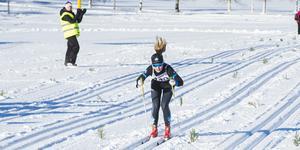 Alva Nilsson var ensam på upploppet.