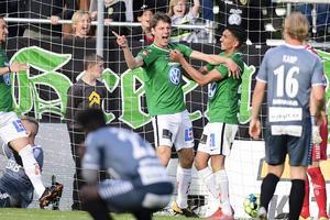 Jubel efter Södras 1–0-mål. Foto Mikael Fritzon