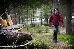 En av de som engagerat sig i fredags-manifestationerna är biologen Maria Danvind i Sollefteå. Foto: Karin Rickardsson