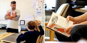 Tomas Håkki Eriksson tillbringade torsdagen på Ljungaskolan för att högläsa för eleverna ur den personliga barnboksfavoriten