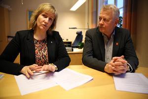 Anna Hed (C), kommunstyrelsens ordförande och kommundirektör i Mora Peter Karlsson.