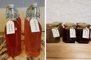 Hallon, hallon och rabarbersaft och marmelad i olika smaker. Foto: Lena Eriksson