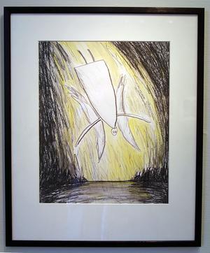 Bilden på den fallande ängeln gjorde Anna-Clara Tidholm till en utställning på galleri Händer i Stockholm 1983.