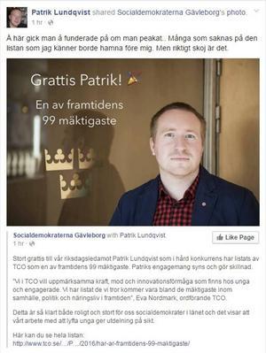 Socialdemokraterna Gävleborg kommenterade placeringen på Facebook.