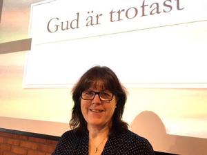 Pastor Helena Fransson predikade under temat Gud är trofast.
