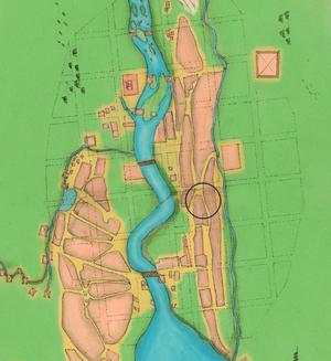 Karta över Falun daterad 1628 och den ungefärliga placeringen av Gamla postenparkeringen.