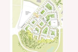 Förutom bostäder kan det bli äldreboende, skola och förskola nära de stora, gröna områdena som sparas till rekreation. Eftersom hela staden växer ska kapaciteten på Stockholmsvägen utökas till två filer i båda riktningarna. – Det ska upplevas att du kör i staden och därmed sänker hastigheten, säger Christofer Rosengren, planarkitekt.  Illustration: Arkitema Architects/Norrtälje kommun