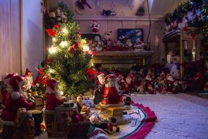Astrid vill helst inte ha någon julgran, den halvmeter höga granen i hallen på övervåningen får räcka.