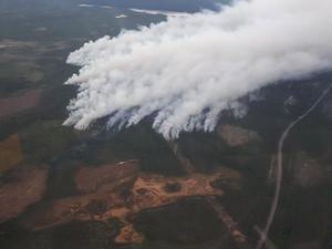 Bild tagen från polishelikopter.Foto: Räddningstjänsten