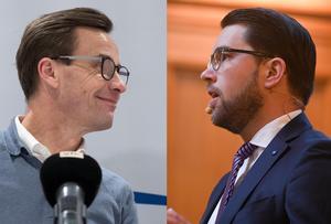 Ulf Kristersson (M) och Jimmie Åkesson (SD) sneglar på varandra. Foto: Henrik Montgomery/TT