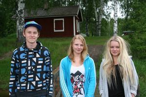 Robin Ekendahl, Ronja Andersdotter och Mimmi Sundin jobbar under sommaren på dagkollot vid Jämtsveden. De är nöjda med jobbet och lönen.