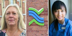 Regionråden Eva Lindberg, S, och Camilla Strömberg, M, är oense om regionens ekonomi.