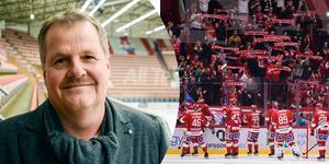 Lars Backlund, ordförande i Timrå IK, sammanfattar läget så här långt. Bild: ST arkiv och Bildbyrån.