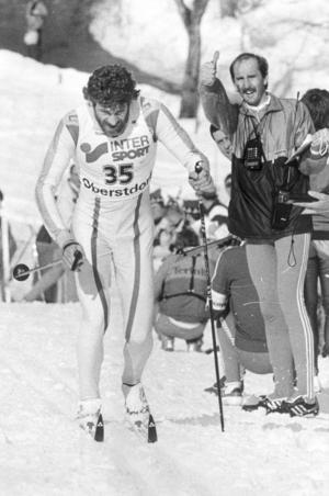 Thomas Wassberg kämpade i skidspåren. Foto: Jan Collsiöö/Scanpix/TT