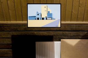 Gunnar von Gegerfeldts stränga geometri återvänder i Ylva Strands målning Maltfabriken.