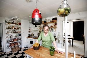 Kökets originellaste föremål, lampan, hittade Gizmo i grovsoporna. Det är en gammal torkhuv som målats om.