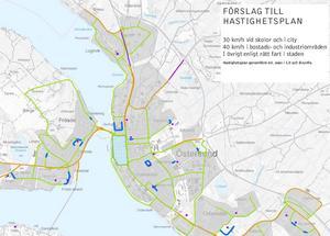 På Östersunds kommuns hemsida finns en karta där de sträckor som föreslås få nya hastigheter är markerade. Blått är 30 km/h, grönt 40 km/h, brunt 60 km/h.